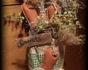 Primitive Easter decor/grubby carrots/grubby decor