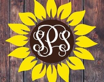 Sunflower Monogram Decal // Lilly Pulitzer, pattern vinyl, custom decal, vine monogram, car decal, yeti decal, laptop decal, phone decal