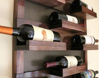 ON SALE Stunning 9 Bottle Wine Rack with Decorative Mesh, Wine Shelf, You Choose The Stain and Mesh Colors