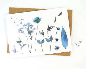 Printed floral card, flower greeting card with blue flowers