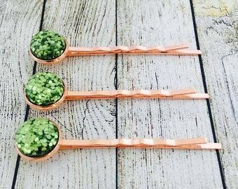 Green Glitter Rose Gold Colour Bobby Pins. Green Glittery Hair Grips. Handmade Hair Slides. Prom Hair. PACK of 3.  Made in Australia