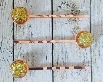 Gold Glitter Rose Gold Colour Bobby Pins• Gold Glittery Hair Grips• Handmade Hair Slides• Prom Hair• PACK of 3•  Made in Australia