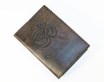 Leather Passport Cover With Om Symbol! Leather Passport Holder! Leather Travel Passport Cover! Brown Handmade Passport Cover! SALE