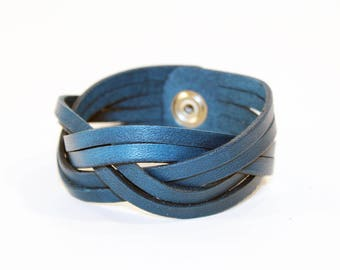 Blue Leather Cuff Bracelet! Nice gift for women! Blue wrist cuff! Bracelet wof women! Bracelet for men.