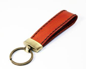 Leather key chain, leather key fob, handmade orange key chain, leather key ring, handmade leather accessories.