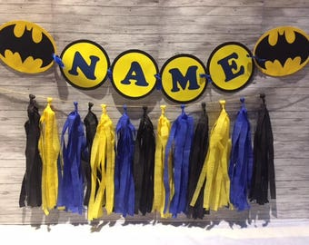 Batman Birthday Party Wall Tassel Garland, Personalized Name Banner Bunting, Handmade Decorations