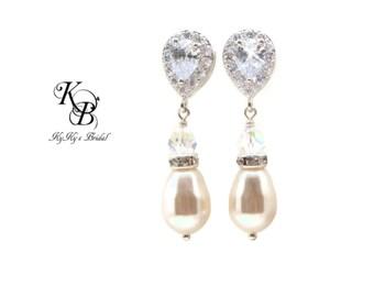 Teardrop Earrings Pearl Drop Earrings Cubic Zirconia Earrings Bridal Earrings Wedding Jewelry Sparkly Earrings Pearl and Crystal Earrings