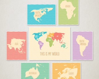 World Map nursery art / Oh, the places you'll go / Playroom decor / World Map for kids / Adventure is out there / Motivational art