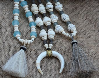 Neutral Statement Necklace | African Glass Trade Beads | BOHO Necklace | Horsehair Tassel Necklace | Bone Crescent Horn Necklace