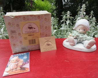 """Vintage Precious Moments """"Don't Let the Holidays Get You Down"""" 1989 in the Box #522112"""