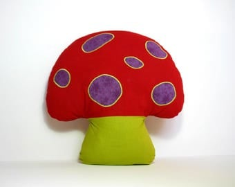 Pillow shape red, green and purple mushroom
