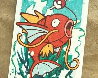 "Magikarp 4x6"" Mini Print Postcard Pokemon Fan Art"