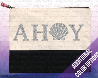 AHOY Scallop Shell Two Tone Makeup/Travel Cosmetic Bag with Black Canvas Trim -  Black, Silver or Gold Glitter