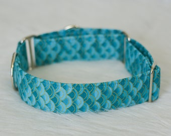Blue Teal Mermaid Dragon Scales with Golden Accents Dog Collar - Choose your width and hardware! - By The Silver Hound