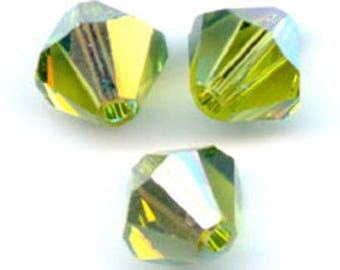 1 lot 20 4mm olivine Swarovski Crystal ab2x Swarovski bicones