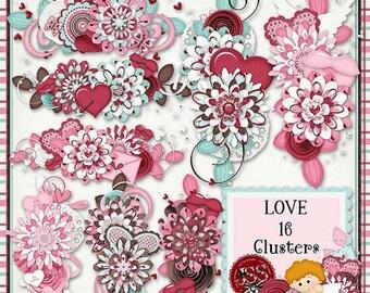 On Sale 50% Love Digital Scrapbook Kit Clusters - Digital Scrapbooking