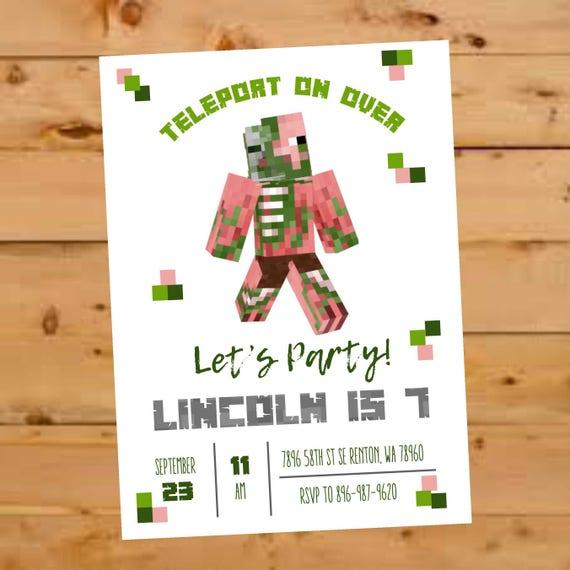 Minecraft Birthday Invitation Zombie Pig Invite Zombie Pig