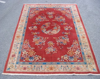 Art Deco Chinese rug hand knotted wool China ca1940 7x10ft red #4671 nichols