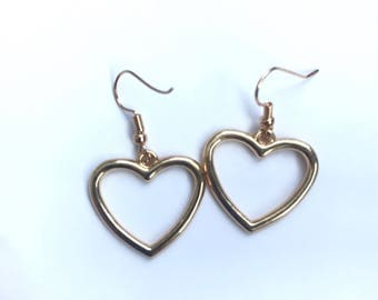 Gold hollow heart earrings