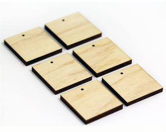 6 Square Blank Beads : Maple Plywood