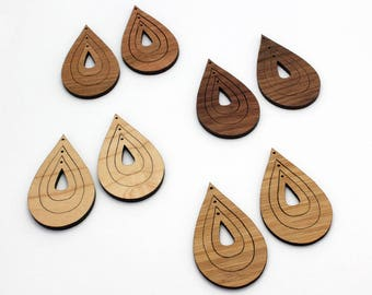 6 Concentric Raindrop Wood Beads : Cherry, Maple, Walnut or Bamboo