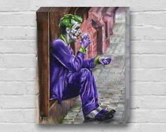 The Joker Needs Coffee - Superhero Batman / Joker Canvas Art Print