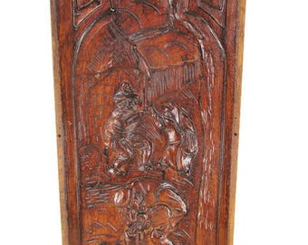 Vintage Hand Carved Wooden Wall Panel Plaque Reclaimed Brueghel Drinking Scene
