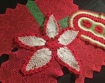 Red Green and White Doilies Hand Crocheted