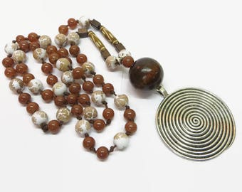 Brown Handknotted Necklace, Boho Hand Knotted Bead Necklace, Long Brown Beaded Pendant Necklace, Bohemian Style Pendant Necklace