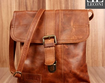 LECONI small shoulder bag lady bag man's Pocket leather bag for ladies and men's Brown LE3033-wax