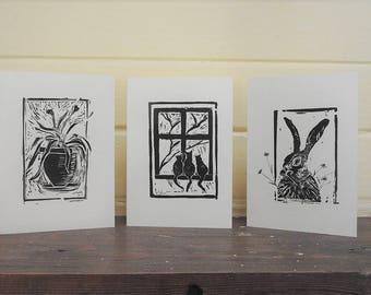 Nature print cards. Set of 10 hand printed cards. Hare, Flower, Cat cards. Art cards. Blank cards. Note cards. PartyandpaperAW