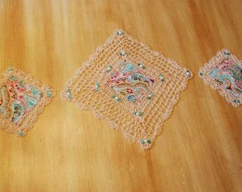 Beaded Crochet Table Doilies Set of 3
