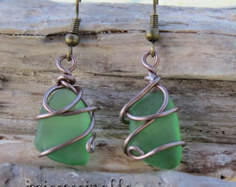 Earrings bronzes in real sand and water glass