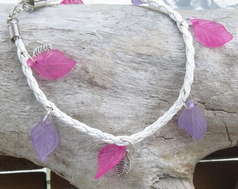 Fancy leaf charms with White Leather braided strap