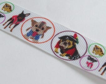 White Ribbon with cute dogs pattern
