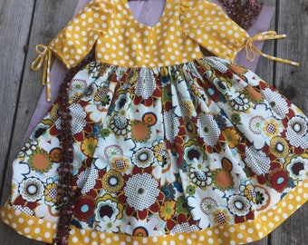 Girl's Gypsy Dot Fall Dress for Back To School in Size 8