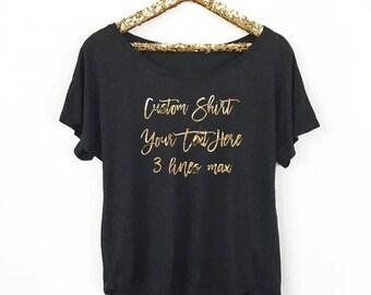 Gold Metallic Custom Shirt, Loose Fit
