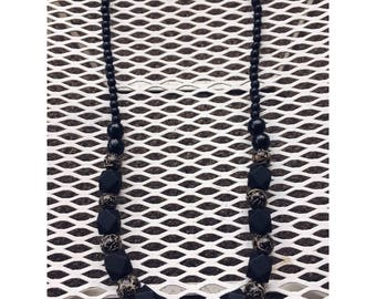 Faceted and Sleek Black Wood Bead Necklace