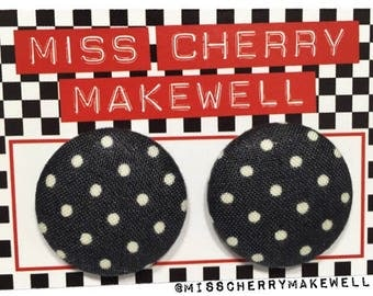 Dark Grey Ditsy Polka Dot Fabric Button Rockabilly 1940's 1950's Pin Up Vintage Inspired Stud Earrings By Miss Cherry Makewell