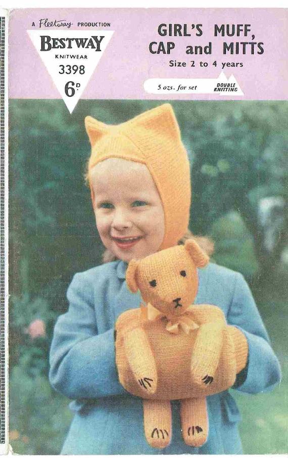 Bestway 3398 teddy bar muff and childrens hat vintage
