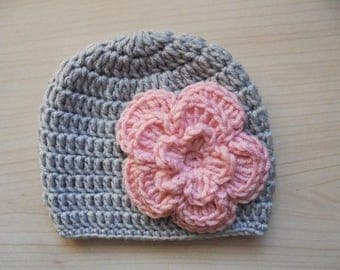 Baby girl hat Crochet baby hat Girl hospital hat Newborn girl hat Gray baby girl hat Newborn gray hat Flower baby hat Baby girl beanie