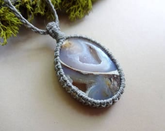 Macrame Fossil Snail Shell druzy knotted pendant necklace Root Chakra amulet