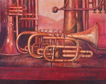 Oil Painting Trumpets Original Artwork Home Decor Wall Decor Wall Hanging Art Still Life 50x40cm