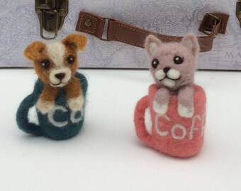 Wool felted coffee cup, cat,dog