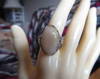 Vintage Large Carnelian Gemstone Sterling Silver Ring Size 6, Weight  6 Grams