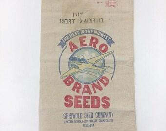 Vintage AERO Brand Seed Sack Nebrasca