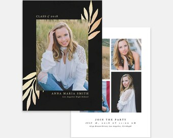 Graduation Card Template for photographers PSD Flat card -Graduation Announcement - Photoshop Template - GC065