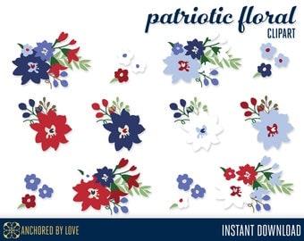 Patriotic Clip art, 4th of July Clip art, Red Flowers Clipart, Blue Floral Clip Art, White Flower Clipart, Patriotic Clipart