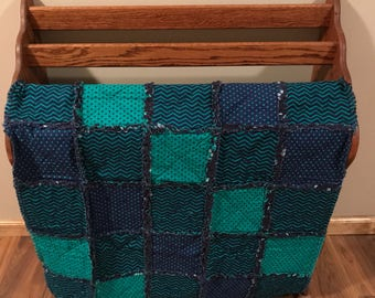 Chevron Blue & Green Infant Rag Quilt