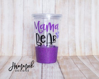 Mama Bear tumbler, mama bear, tumbler, mama bear cup, personalized tumbler, mama, gift for her, gift for mom, gift,glitter dipped
